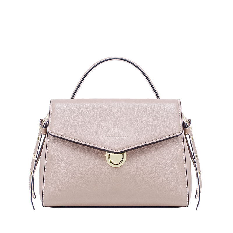 New ladies leather cross section refined metal shoulder bag fashion simple wild solid color lock portable crossbody bag korean version of the style cross section handbag metal rod handbag fashion wild hit color leather bag shoulder bag diagonal cro