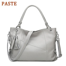 PASTE Brand Designer Genuine Leather Bags Handbags Women Soft Cow Leather Fashion Shoulder Bag Tassel Ladies Big Tote Bag Purse