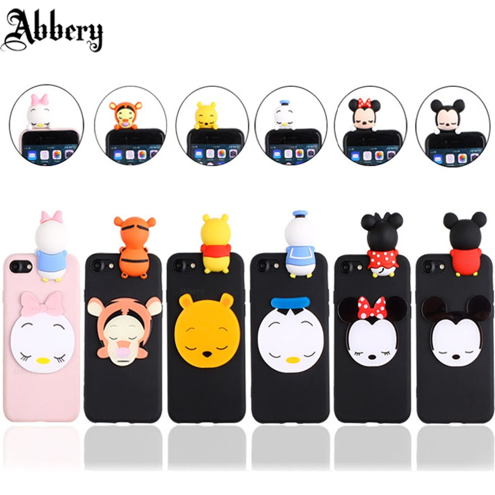 Cartoon 3D Mickey Minnie Mouse phone Case For iphone X 5s 6s 7 8 plus back cover for samgsung galaxy S6 S7 S8 S9 Note5 note 8 A7