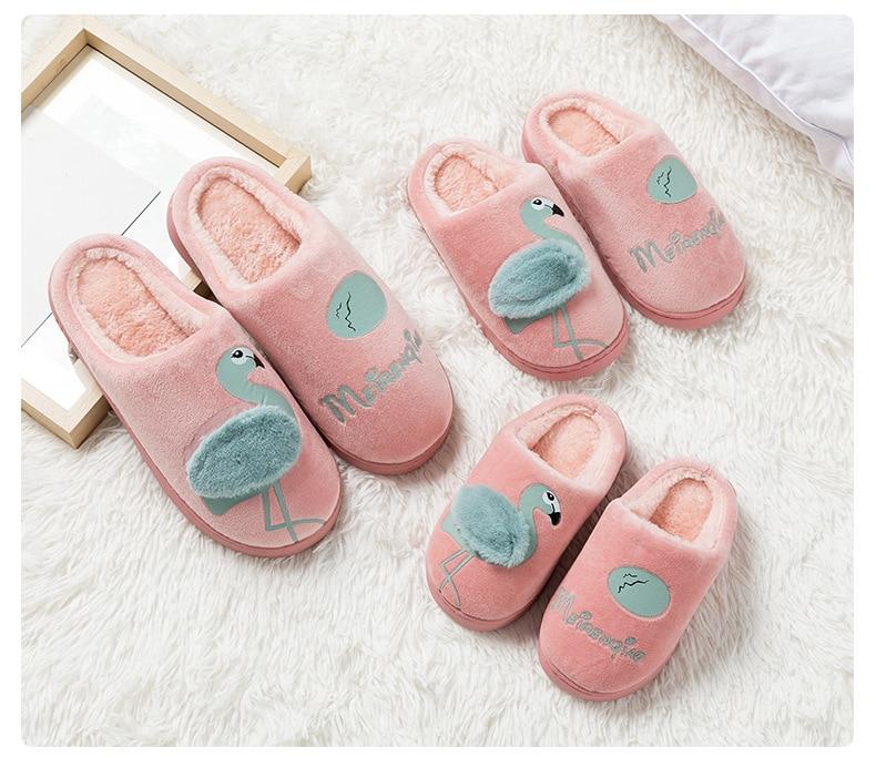 Flamingo Slippers Women Winter Home Indoor Comfort Ladies 2018 Casual Flats Soft Sweet Flip Flops Velvet Lovely Women Shoes