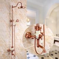 Bathroom Shower Faucet Set Rose Gold Bathtub Faucet Shower Mixer Tap Bath Shower Crane Rainfall Shower Head Wall Mixer Torneira