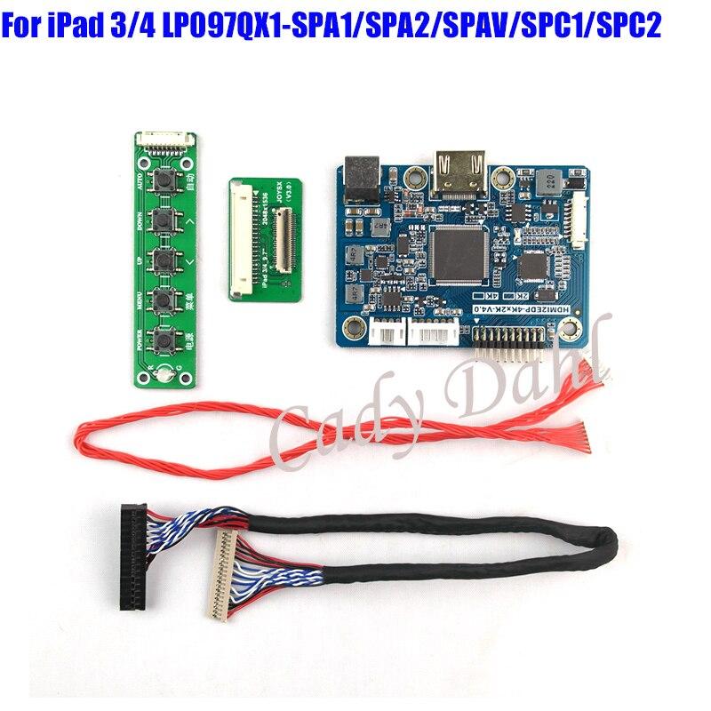 4K HDMI LVDS Controller Board for iPad 3 4 9.7/' LP097QX1 SPA1 SPAV EDP Signal
