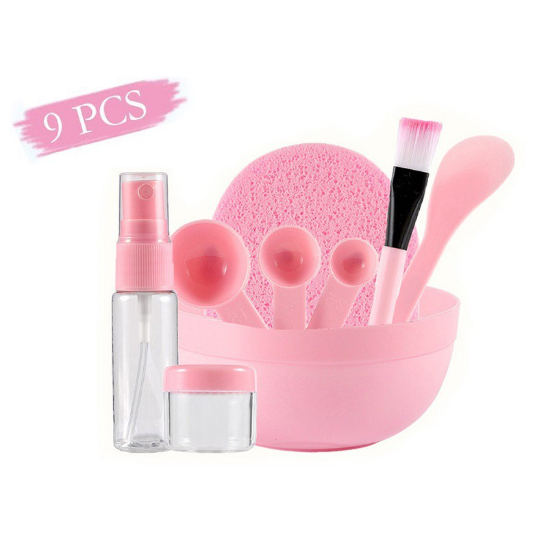 9 In 1 Set  Pink Facial Care Mask Facemask Mixing Tool Sets Bowl Stick Brush Gauge Cleaning Mat 2019 New Product