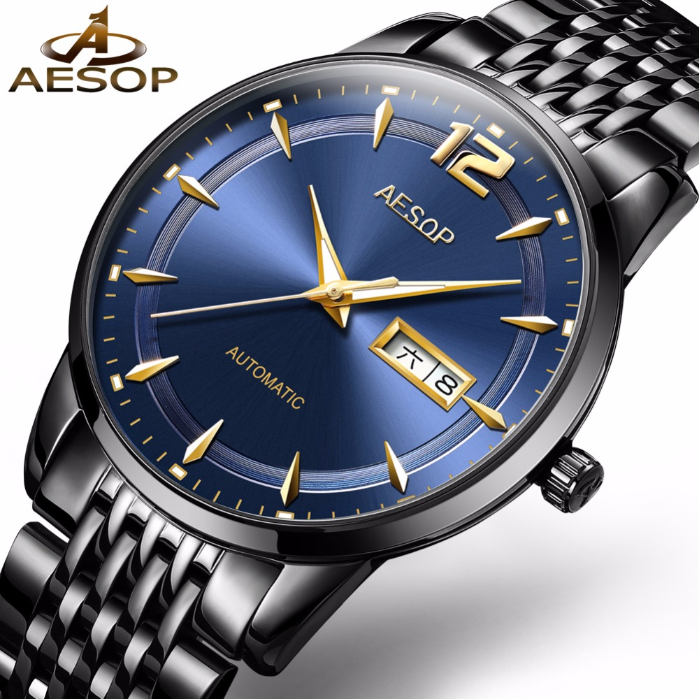 AESOP Luminous Hands Automatic Watches for Men Day and Date Display Man Mechanical Wristwatch Bracelet Male Clock Business Watch все цены