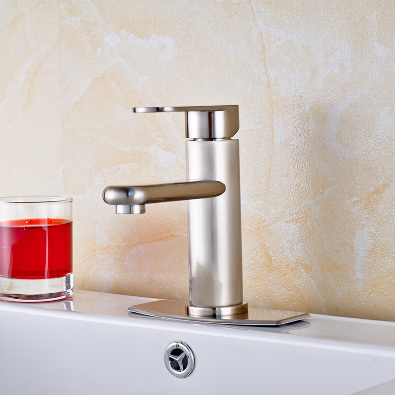 ФОТО Free Shipping Sink Basin Faucet Deck Mounted Single Lever Water Tap Brushed Nickel With 6 Inch Cover Plate