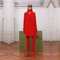 Новая мода двубортный офисная Форма Элегантный брючный костюм длинная куртка женских брюк костюмы на заказ