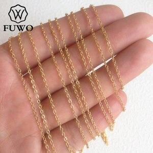Image 3 - Fuwo atacado latão redondo o corrente colares de alta qualidade anti mancha 24k ouro mergulhado corrente para fazer jóias 1.5*2.0mm nc001