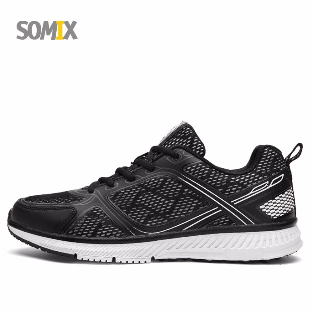 Somix Men's Running Shoes Mesh (Air Mesh) Breathable Fitness Sneakers Male Rubber Soles Cushioning Outdoor Jogging Sport Shoes stainless steel handle cuticle fork silver