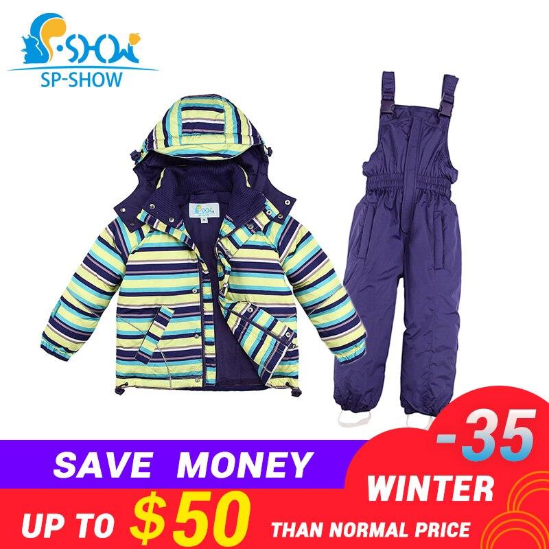 11.11 SP-SHOW-35 gradi russia di Inverno dei bambini Outwear ragazzo tuta da neve giacche di spessore Per Bambini che coprono le ragazze giacca da sci insieme del vestito