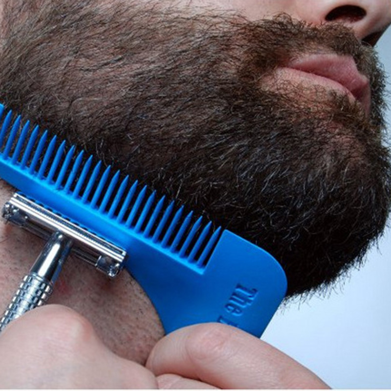 Mens Facial Hair Beard Shaper Mold Plastic Guide Template Brush Combs Lines Symmetry Trim Shaping Barber Salon Styling Tool