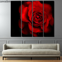 4 pièce toile peinture fleur rouge rose rouge noir mur décorations salon des motifs mur cadre photo Livraison gratuite/up-1357D