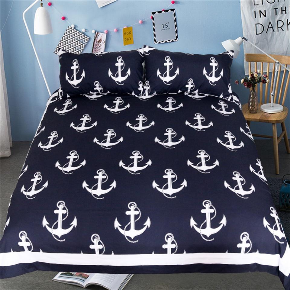 beddingoutlet anchor bedding set queen size for kids boy bedclothes dark blue and white duvet. Black Bedroom Furniture Sets. Home Design Ideas
