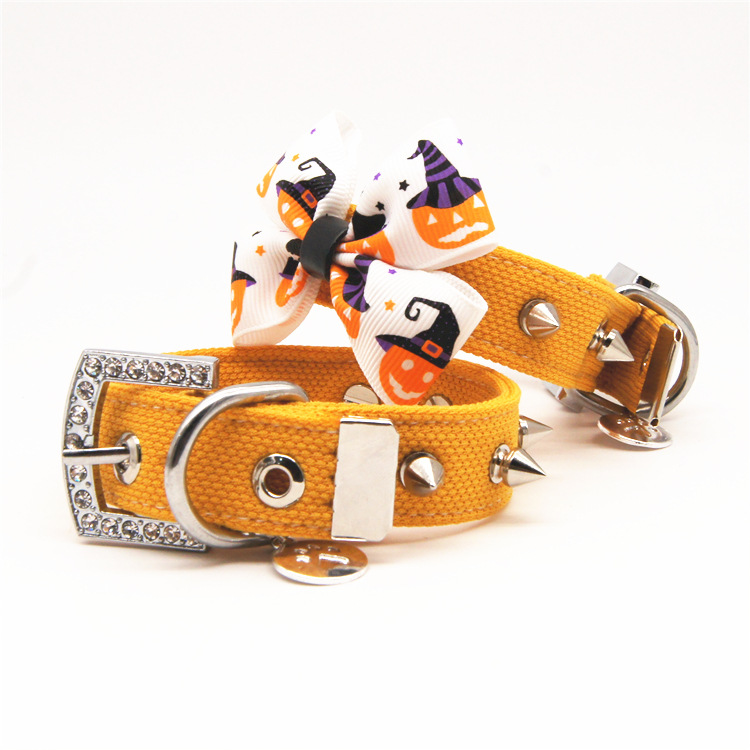 Halloween pumpkin Small big large dog Bow tie collar diamond pitbull dog pet cat Spiked Studded collar dog necklace pendant