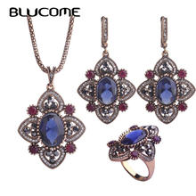 Blucome New Turkish Style Necklace Earrings Ring Jewelry Set Resin Flower Alloy Accessories Women Lady Party Banquet Decorations(China)