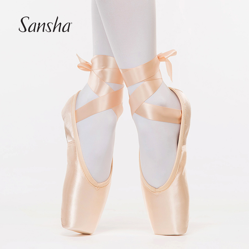 Sansha Ballet Demi pointe Shoes Pink Satin Full Leather Sole Flexible Shank Girls Women Profession Dance