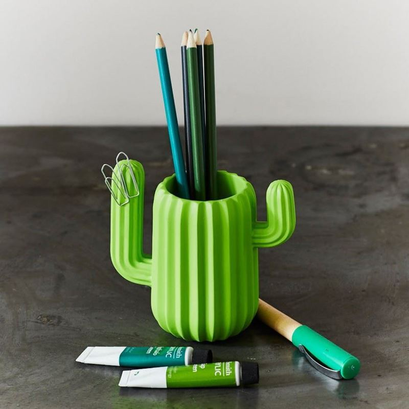 Creative Multifunction Cute Cactus Shaped Magnetic Pen Holder Pencil Pot Home Office Desk Stationery Storage Box Organizer Gift