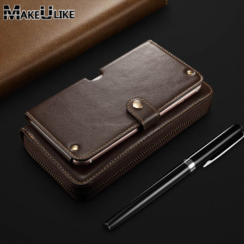 MAKEULIKE Genuine Leather Case For Iphone 6 Plus 7 8 Plus Business Pouch Handbags For Samsung Note 8 S8 S9 Plus Case Cover