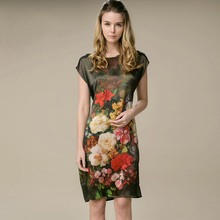Шелк прямое платье дизайн натуральный шелк женское платье Летний стиль Desigual атласное платье с цветочным принтом