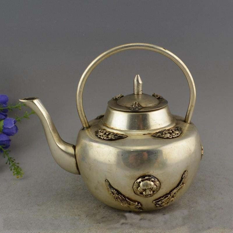 Marked Old China Silver Lucky Dragon Beast Statue teapot Kettle Wine Pot FlagonMarked Old China Silver Lucky Dragon Beast Statue teapot Kettle Wine Pot Flagon