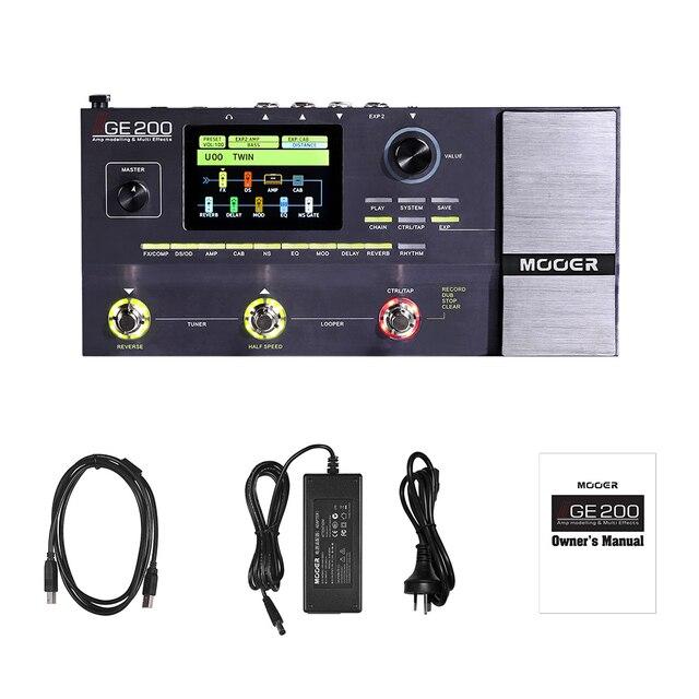 MOOER GE200 Guitar Pedal Amp Modelling & Multi Effects Pedal 55 Amplifier  Models 70 Effects 52s Looper 40 Drum Patterns