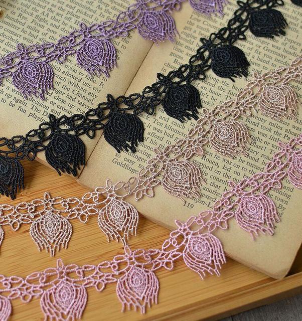 3 Meters Polyester 4 Colors Lace Trim Purple Black Apricot Pink Lace Fabric  Trimmings 2.5cm Width 1e059fbf38