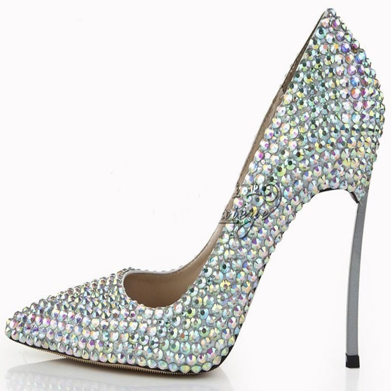 277835d0c662 Detail Feedback Questions about Luxury Bling Bling Crystal Pointed Toe Pumps  Silver Blade Heels Women Party Dress Shoes Sexy Slip on Wedding Bride Shoes  ...