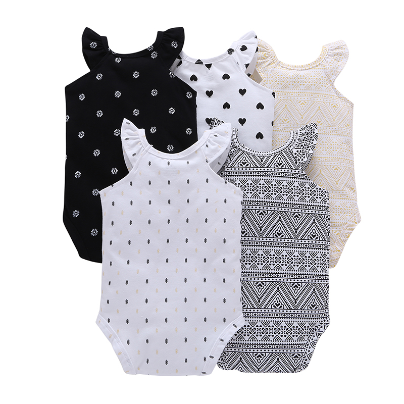 CHUYA Summer Bodysuits 5 Pieces/Lot Baby Girl Clothes Short Sleeve Cotton Printed Bodysuits Baby Jumpsuit Baby Boy Clothes V10