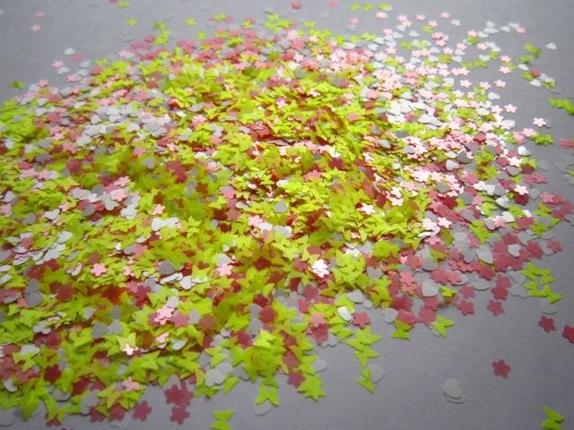 Mixta Rosa Neón Amarillo Blanco Flor de Mariposa Corazón Brillo ...