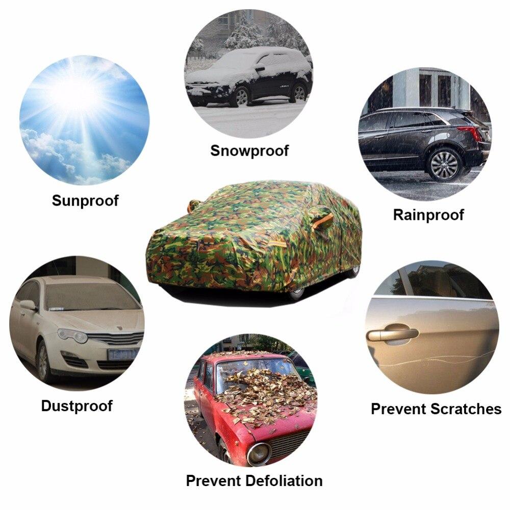 Kayme étanche camouflage voiture couvre soleil en plein air protection couverture pour voiture réflecteur poussière pluie neige de protection suv berline pleine - 2