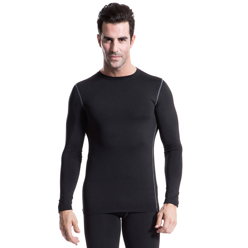 Men Winter Fleece Liner Exercise T Shirts Long Sleeve Training Outdoor Running Sportswear Flexible Slim Fit Warm Top Sweatshirt