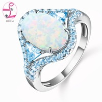 ZHE FAN Big Oval Egg Shape White Fire Opal Ring Blue AAA Cubic Zircon Halo Engagement Wedding Copper Rings for Women Noble New