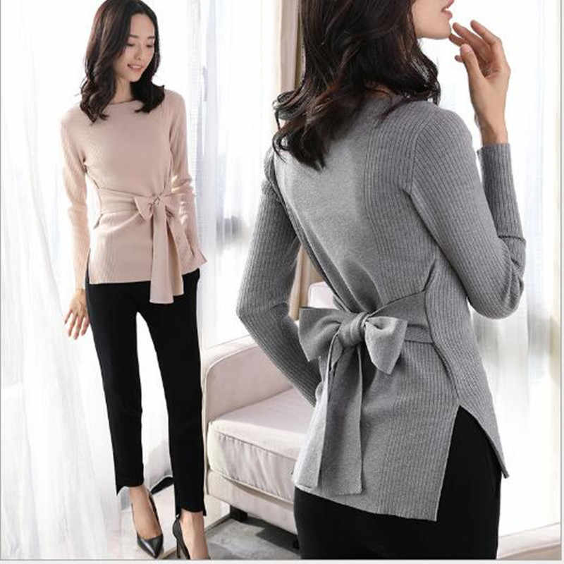 Autumn and winter new Slim fashion bow tie with a knit sweater female long-sleeved round neck bottoming shirt black gray sweater