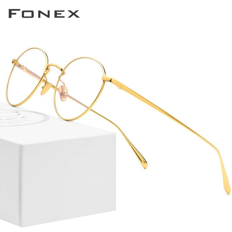 Pure Titanium Glasses Frame Men Vintage Round Myopia Optical Prescription Eyeglasses Frames Women Female Retro Oval