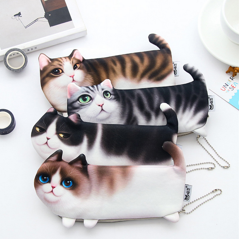 2018 New Cute Simulation Of Cat Student Pencil Bag Papelaria Soft Nap Pencil Case Stationery Material Escolor School Supplies