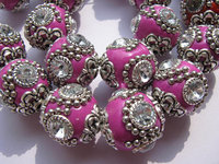 handmade round clay &crystal 18x18mm 50pcs, ball kashmiri polymer with brass rose pink mixed jewelry beads