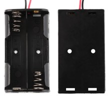 300pcs/lot MasterFire High Quality  Battery Storage Case Cover Plastic for 2 x 1.5V AA Box Holder Black With Wire Leads цены