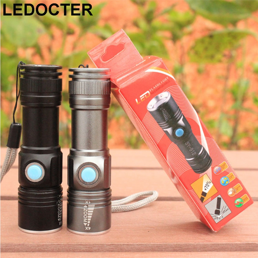 USB Charge Mini CREE Q5 Handy LED Torch Flashlight Zoomable 3 modes Waterproof Portable Flash Light For Camping Biking Hiking