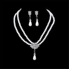 купить ECODAY Jewelry Sets Bridal Jewelry Imitation Pearl Earrings Necklace Set for Women Wedding Necklace Costume Parure Bijoux по цене 147.84 рублей