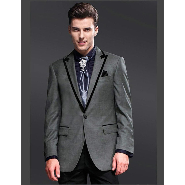 Custom Made New 2 Pieces Gray Jacket Black Pants Men Wedding Suits