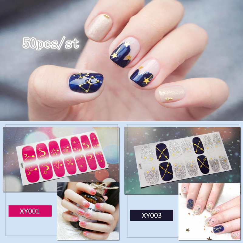 50pcs Full Covered Nail Stickers Mixed Moon Sun Star Designs Decal Tips Wraps DIY Nail Art Decorations Manicure Beauty Accessory