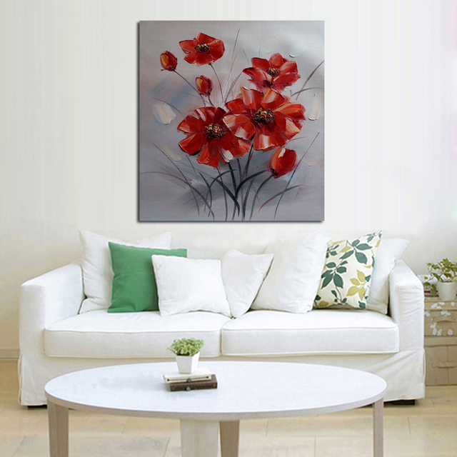 New Decorative Oil Paintings Wall Picture New Simple Red Flowers Art Modern  Abstract Home Decor Best