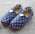 Узор в горошек свободного покроя брезент обувь дети обувь дети кроссовки воздухопроницаемый девочки мягкий подошвой скольжение туфли-loafers мальчики обувь