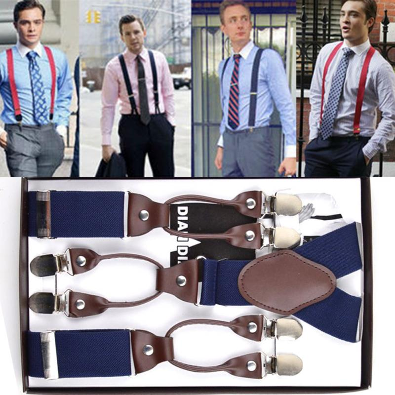 vintage Leather elastic woven tape alloy 6 clips male casual suspenders commercial western-style trousers mans braces strap #5