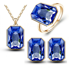 2016 christmas gifts queen brand bridal wedding  crystal square pendant necklace earrings RINGS fashion jewelry sets