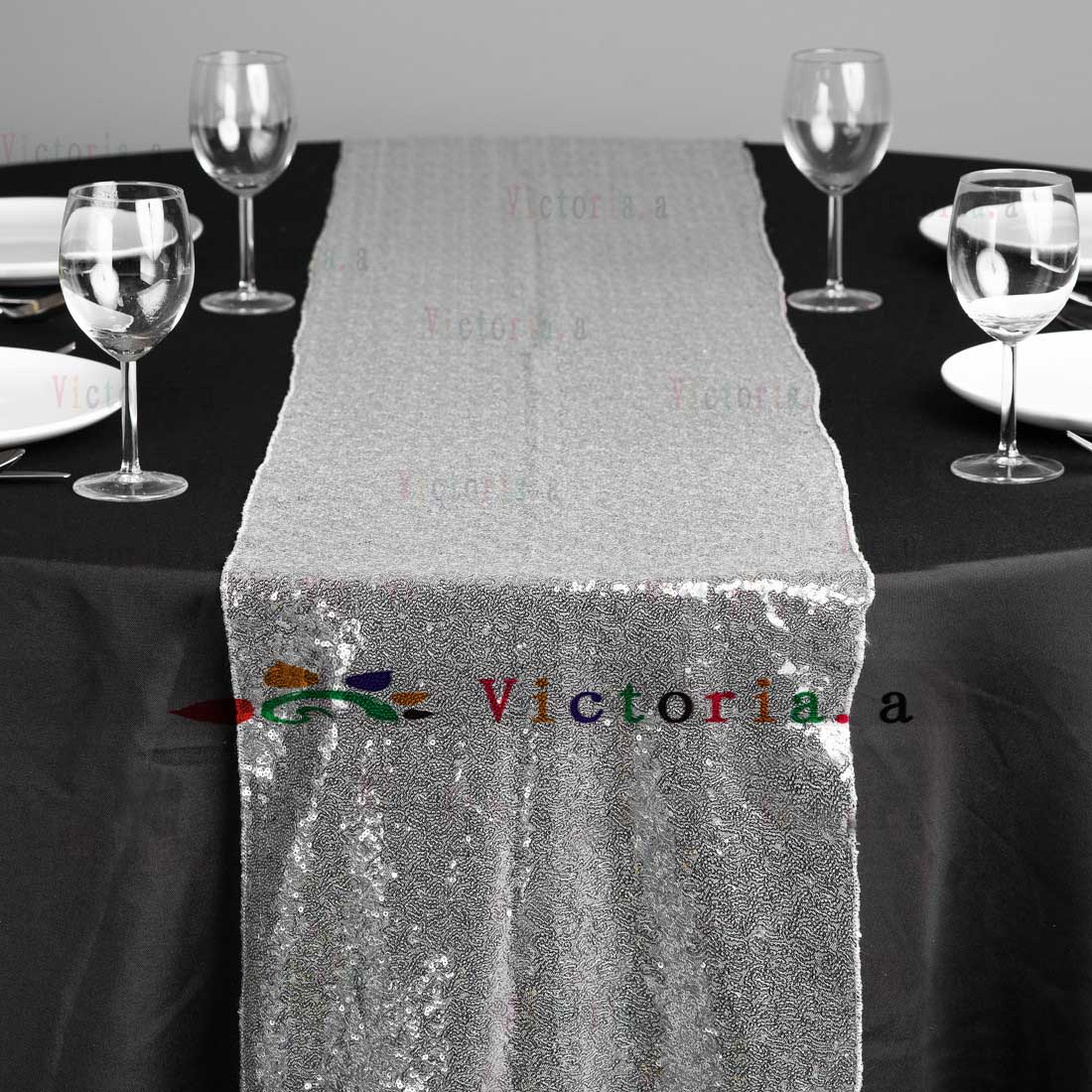 10 Pcs 30cmx183cm 12 72 Luxury Silver Sequin Table Runner Wedding Party Table Decoration Solid Color