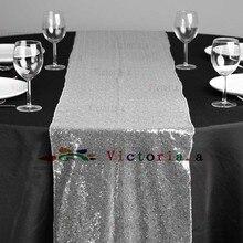 """10 Stücke 30 cm x 183 cm (12 """"* 72"""") Luxus Silber Pailletten Tischläufer Hochzeit Party Tischdekoration Einfarbig Silber Tischläufer"""