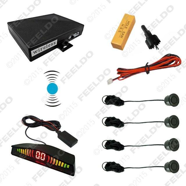 Car 4-Sensor Wireless Parking Reversing Aid Backup Radar System Black Silver Blue Gray Wihte Red Gold Yellow Orange Green #CA878