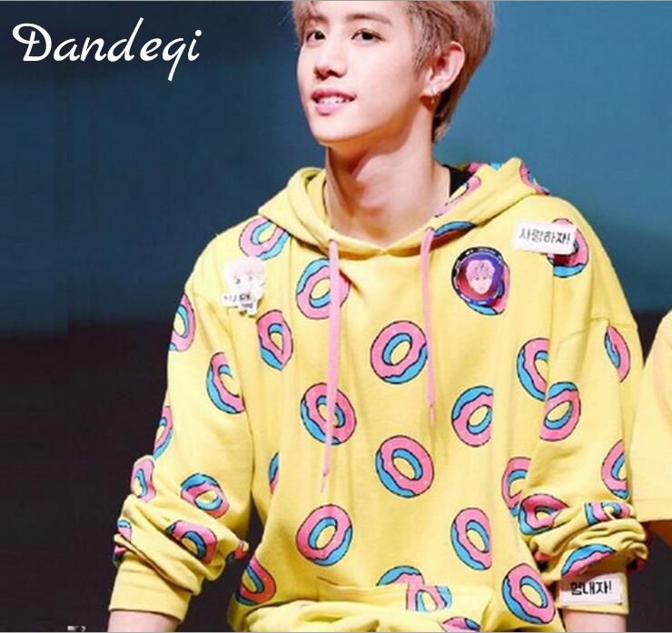 Spring Autumn Fashion Donuts Printing Hoodies For Men Women Kpop Got7 Mark Just Right New Jung Kook Same Sweatshirt