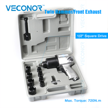Veconor 1/2″ Sq. Dr. pneumatic air impact socket wrench kit twin hammer front exhaust