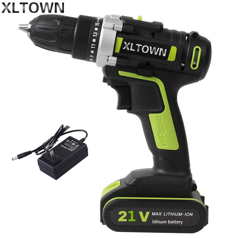 XLTOWNnew 21V Electric Drill 1500mA Large Capacity Lithium Battery Electric Screwdriver Household Multifunction Electric Drill мужская бейсболка 11 cayler snapback